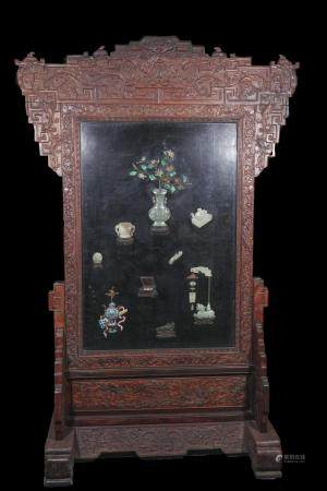qing dynasty A large screen carved in red wood inlays jade a