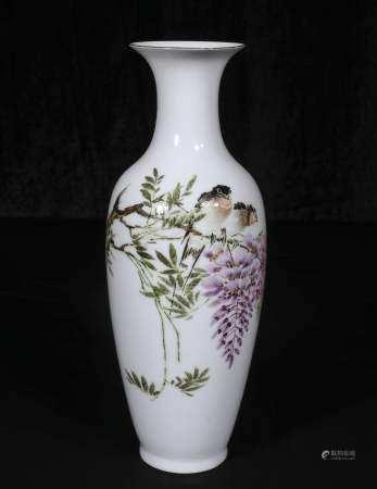 Qing Jiaqing Powder enamel vase with floral design