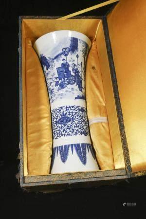 Ming Chongzhen blue and white landscape figure patterned gu