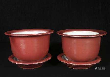 Qing Yongzheng red glaze flowerpot pair