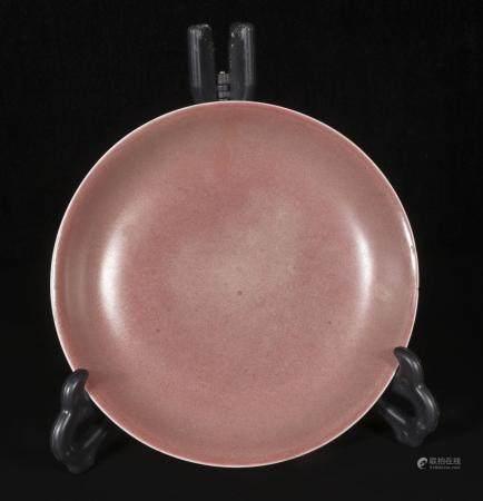Qing Kangxi red glaze plate