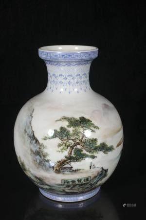 Zou Guojun powder enamel vase with landscape design
