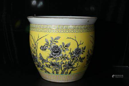 A Pair of Yellow pots with floral details