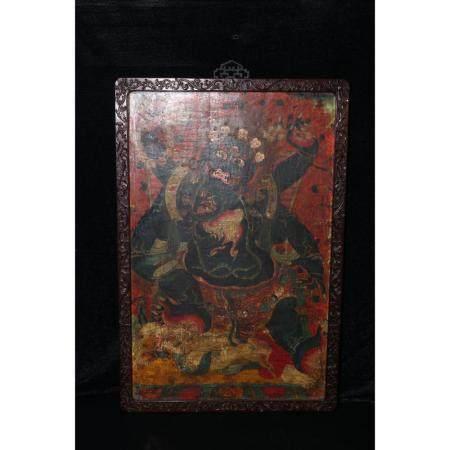 Qing Dynasty A big black thangka