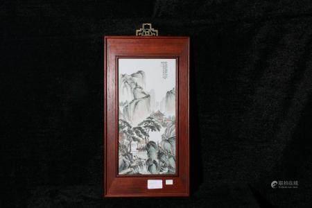 Mid-20th century pastel landscape hanging screen