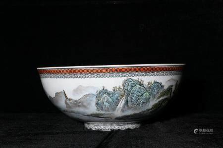 mid-twentieth century Landscape green-splashed bowls