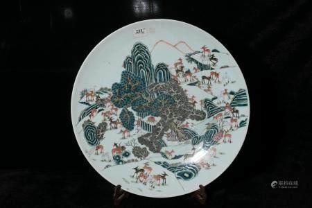 Qing Guangxu powder enamel plate with white deer