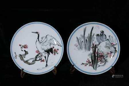 Mid-20th century A pair of powder enamel plates by Sun Tongx