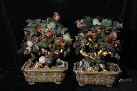 Qing Dynasty copper tire enamel enamel set with gemstone bon
