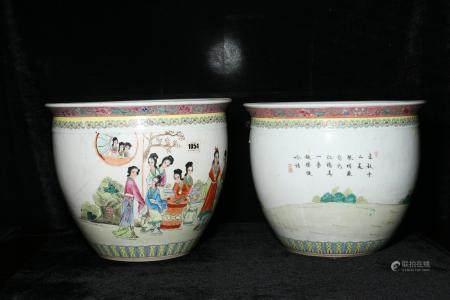 Mid - 20th century powder enamel vase with figures