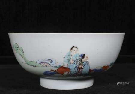 Qing Yongzheng powder enamel bowl with figures