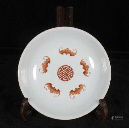 Powder enamel plate with phoenix design