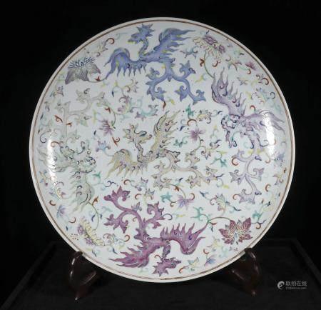 Qing guangxu Large powder enamel plate