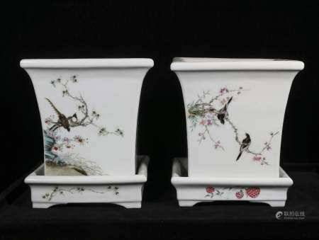 republic Pastel flower and bird POTS for a pair