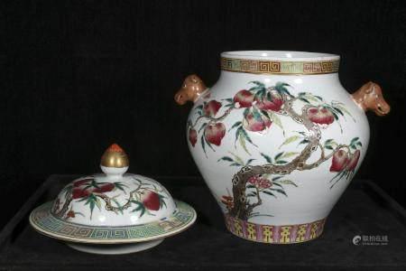Qing guangxu Powder enamel vase with nine peach lid
