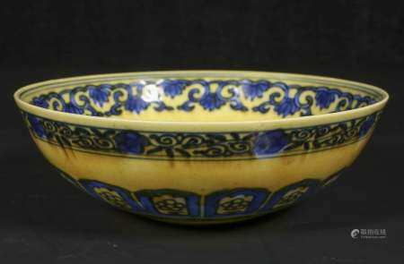 qing dynasty Yellow ground blue and white bowl
