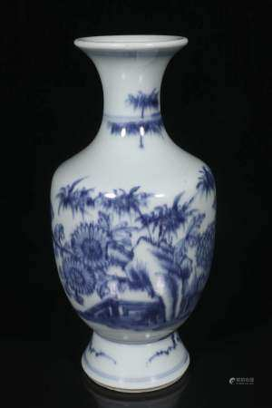Qing Blue and white vase with floral pattern