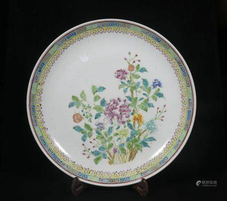 Qing Xuantong powder enamel plate with floral design