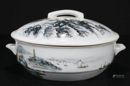White Pot With Mountain and Ocean Details