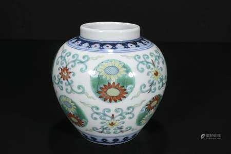 Qing Dou color flat chrysanthemum grain jar