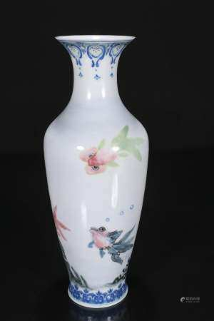 Mid-twentieth century enamel vase with fish pattern