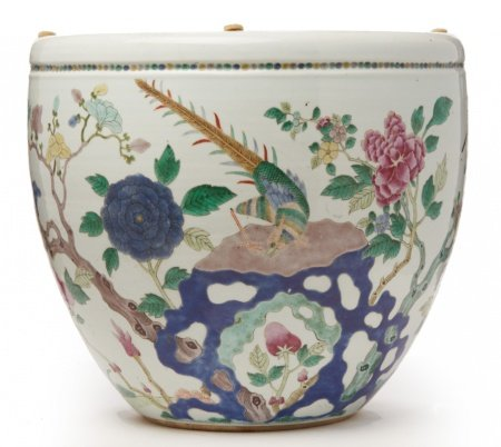 A FAMILLE ROSE PORCELAIN JARDINIERE, WITH PHEASANT
