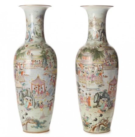 *A PAIR OF VERY LARGE FAMILLE ROSE BALUSTER FLOOR VASES