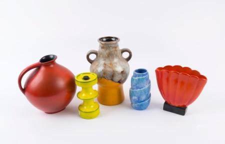 German orange and brown pottery vase, Richard Ginori red and