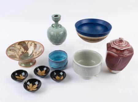 Red glazed lidded jar, green glazed vase, celadon fish bowl,