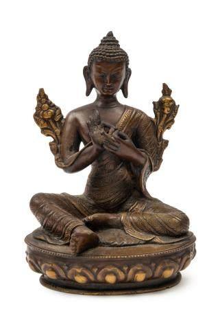 Sino-Tibetan bronze Buddha, 16th/17th century, 14.5cm high