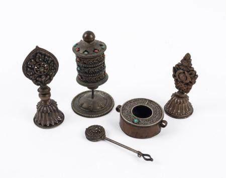 Five assorted Tibetan artefacts including a prayer wheel, si