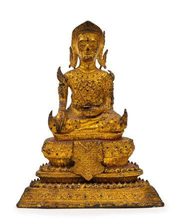 Thai seated Buddha statue, gilded bronze, 18th/19th century,