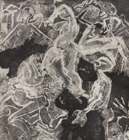 Lithographie Lithographie monochrome représentant des silhouettes. Artiste [...]