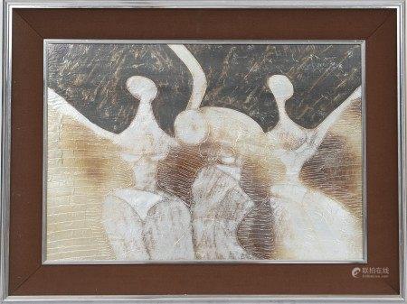 Danceuses Gravure sur plaques de métal, encadrée. Signé et daté 1972 en bas à [...]