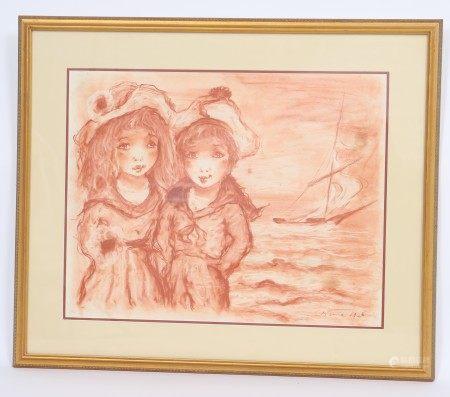 """Enfants au voilier Sanguine originale au fusain. Signé """"Etienne"""" et daté 1923 en [...]"""
