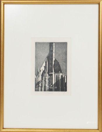 Minoriten kirche in Vienna Lithographie monochrome encadrée. Signé, intitulé et [...]