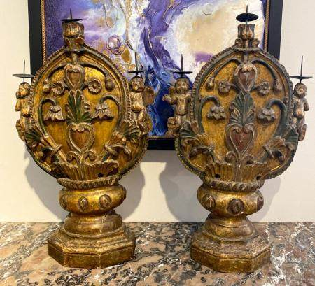 EARLY ITALIAN GILT WOOD CATHEDRAL PRICKETS