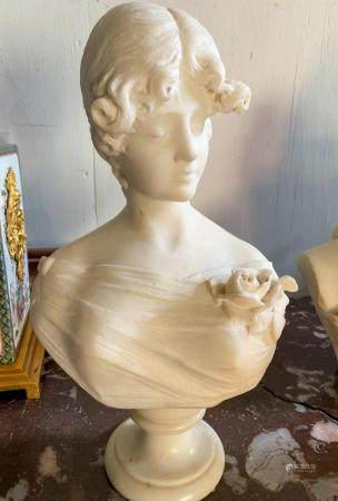 FRENCH 19TH C, WHITE MARBLE BUST
