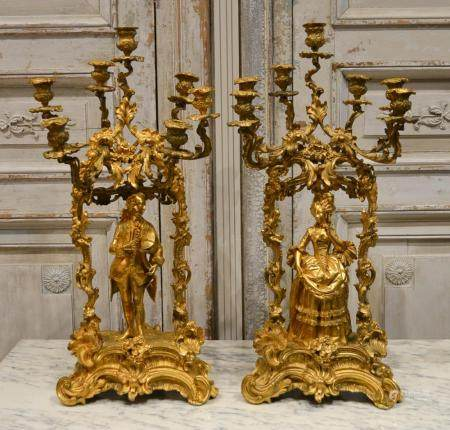 IMPORTANT 19TH CENTURY PAIR OF FRENCH CANDELABRA