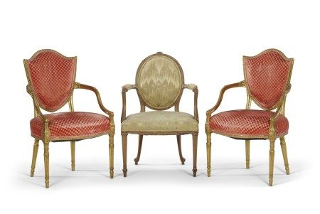 A PAIR OF GEORGE III GILTWOOD OPEN ARMCHAIRS AND A BEECHWOOD ARMCHAIR