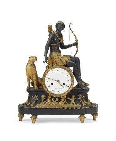 DIRECTOIRE ORMOLU AND PATINATED-BRONZE MANTEL CLOCK