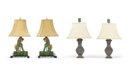 TWO PAIRS OF CHINESE LAMPS