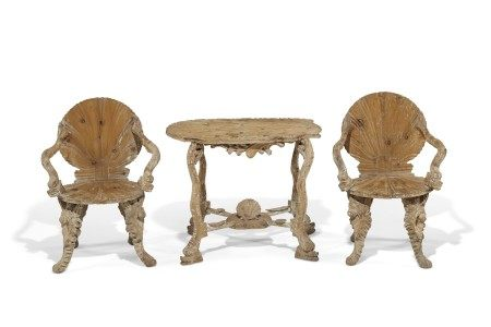 A PAIR OF VENETIAN GROTTO-FORM OPEN ARMCHAIRS
