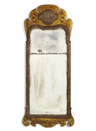ENGLISH POLYCHROME-PAINTED AND PARCEL-GILT PIER MIRROR