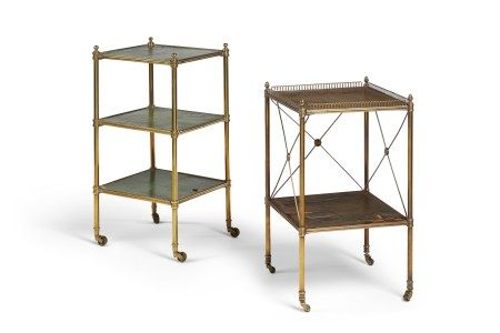 TWO FRENCH BRASS AND TOOLED LEATHER SIDE TABLES