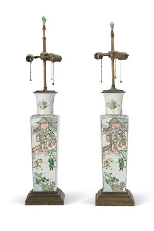 PAIR OF CHINESE PORCELAIN FAMILLE VERTE VASES, MOUNTED AS LAMPS