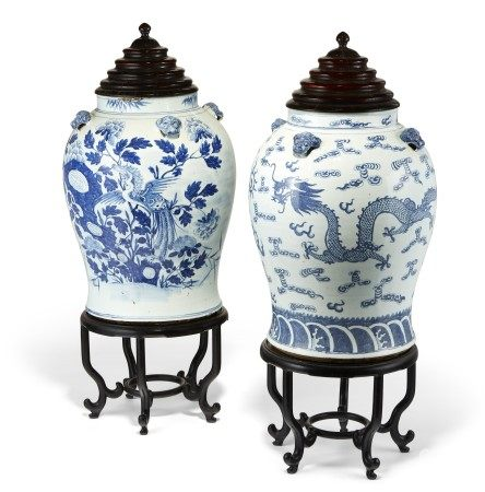 TWO CHINESE BLUE AND WHITE PORCELAIN LARGE JARS