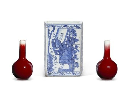 PAIR OF CHINESE PORCELAIN COPPER-RED GLAZED SMALL BOTTLE VASES, AND A CHINESE BLUE AND WHITE PORCELAIN PILLOW