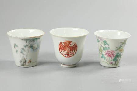 3 Chinese porcelain cups, possibly 19th c./Republican period