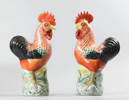 pair of Chinese porcelain roosters, possibly 19th c.